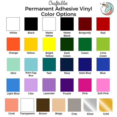 Adhesive Vinyl Sheets | 12 x 12 Permanent outdoor Vinyl for Cricut, Silhouette By Craftables