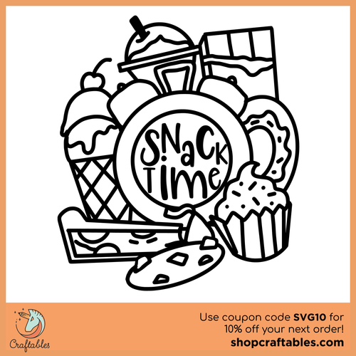 Free Snack Time Coloring Page SVG Cut File