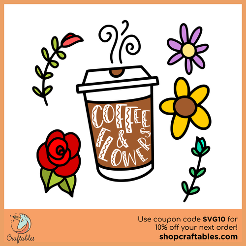 Free Coffee and Flowers SVG Cut File