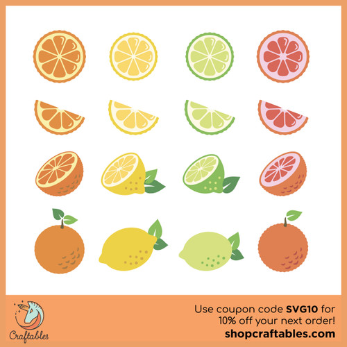 Free Citrus Fruits SVG Cut File