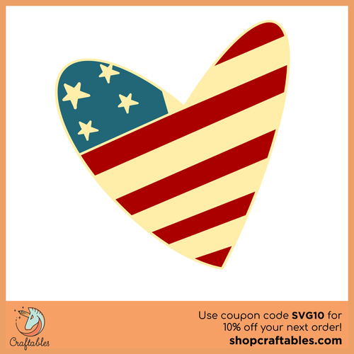 Free American Flag Heart SVG Cut File
