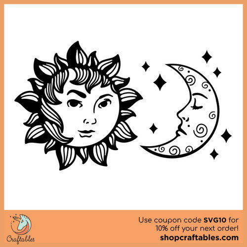 Free Sun and Moon SVG Cut File