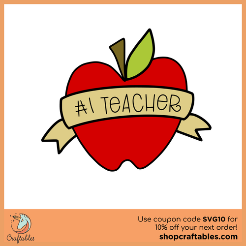 Free Number 1 Teacher SVG Cut File