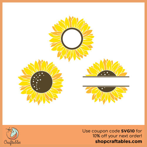 Free Sunflower Monogram SVG Cut File