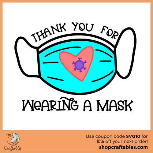 Free Thank You For Wearing A Mask SVG Cut File