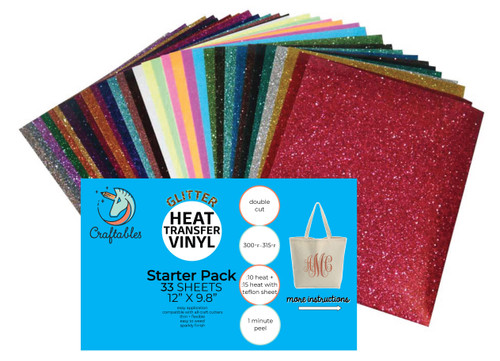 Glitter Iron On Vinyl Complete Starter Pack | 33 Sheets Glitter Heat Transfer Vinyl By Craftables
