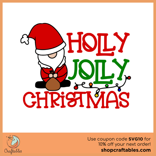 Free Holly Jolly Christmas SVG Cut File