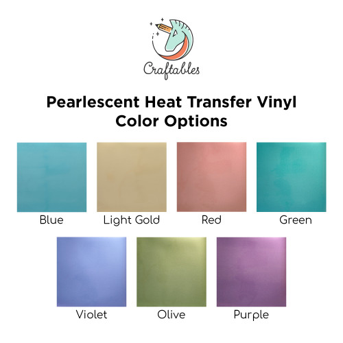 Craftables Pearlescent Iron On Vinyl Color Chart