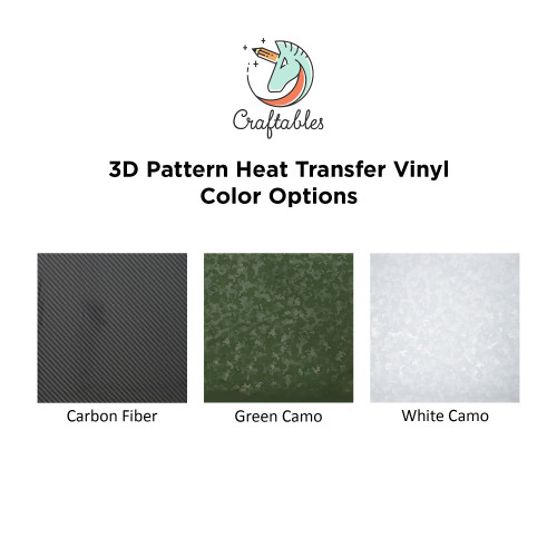 Craftables 3D Premum Pattern Iron On Vinyl Color Chart