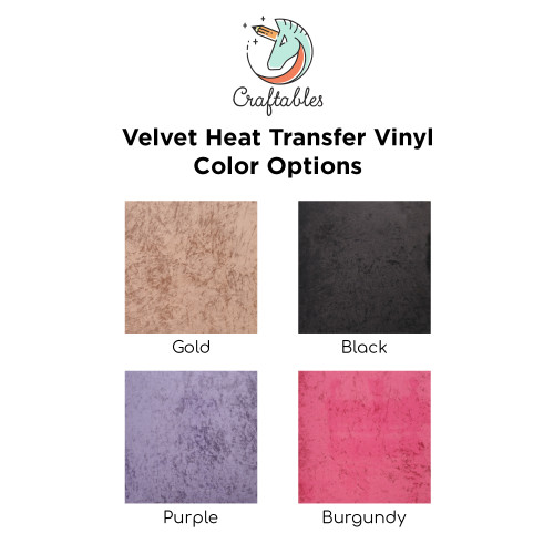 Craftables Velvet Iron On Vinyl Color Chart
