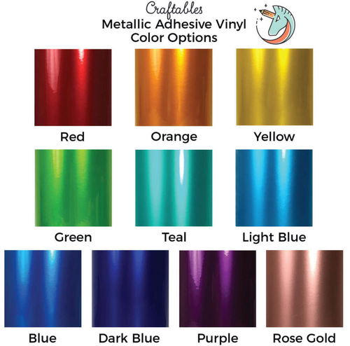Metallic Adhesive Vinyl Rolls for Cricut, Silhouette | Permanent Vinyl By Craftables