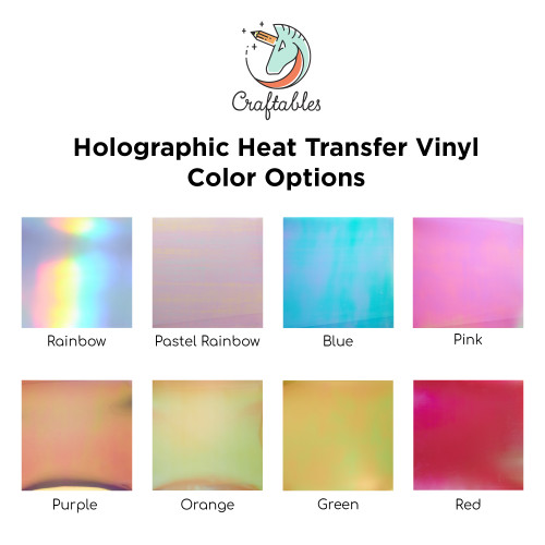 LIQUIDATION - Holographic Iron On Vinyl Sheets | Heat Transfer Vinyl for Cricut, Silhouette By Craftables ( 1 Sheet)