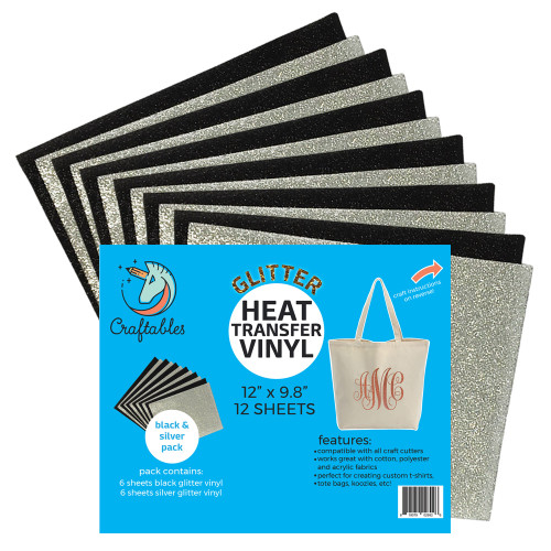 Craftables Glitter HTV Black and Silver pack