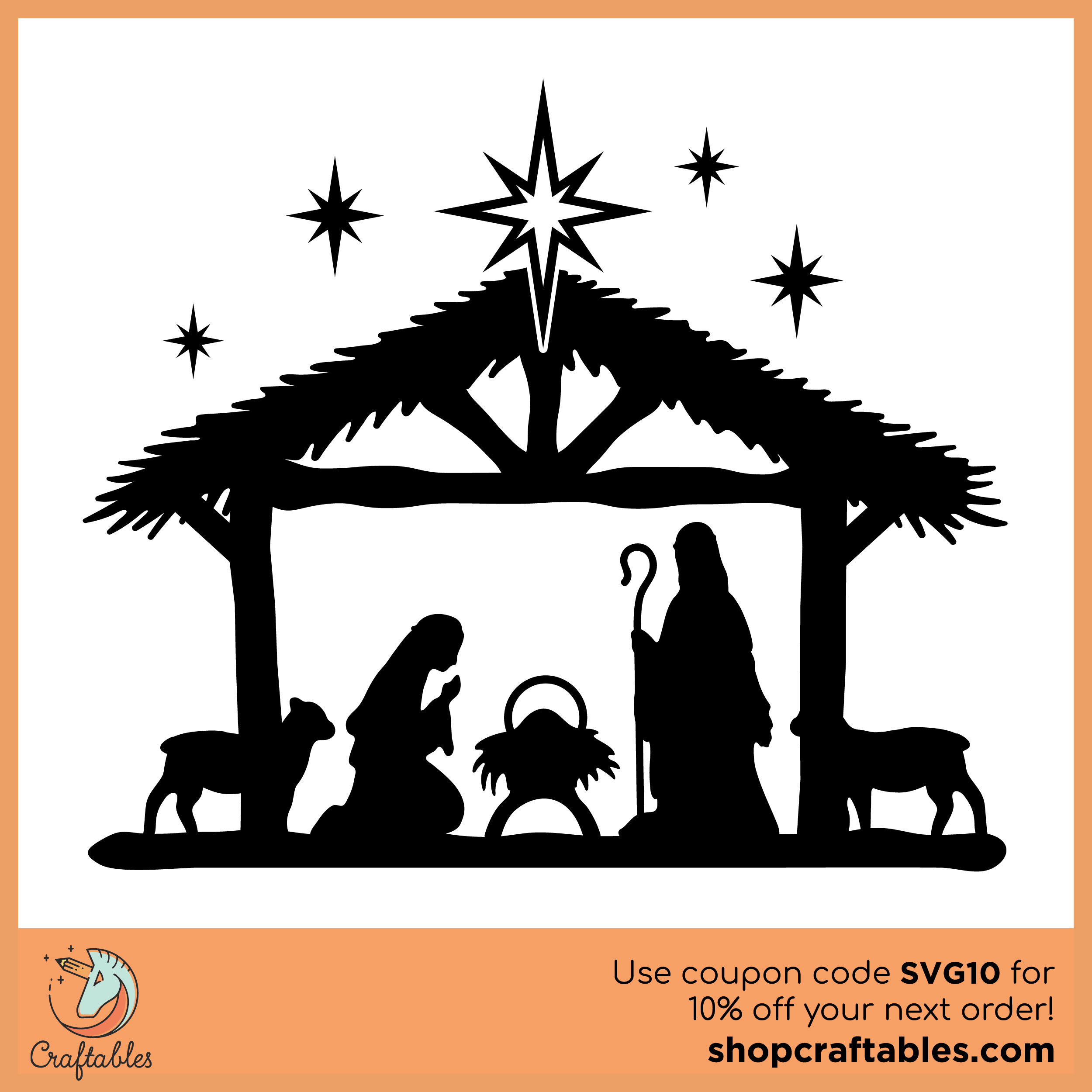 Free Nativity Scene Svg Cut File Craftables