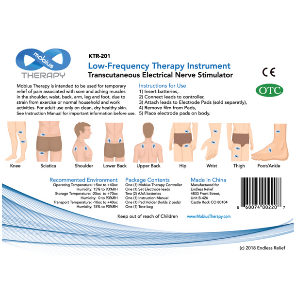 Mobius Therapy TENS Kit, (1) Pair 800mg CBD Pads included