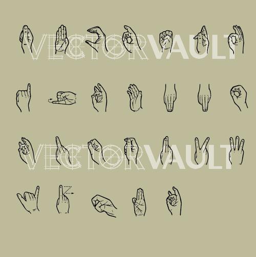 vector sign language alphabet