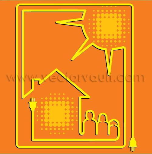 buy vector solar energy home family