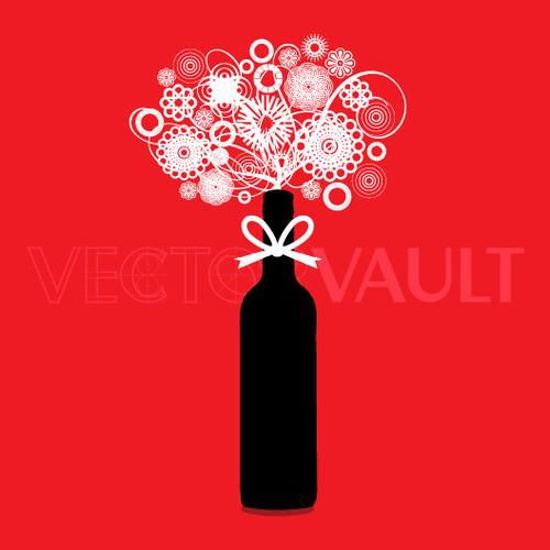 Buy Vector wine bottle flower bouquet logo graphic Image search find buy free vectors - Vectorvault