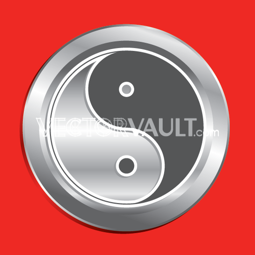 Vector Ying Yang Button