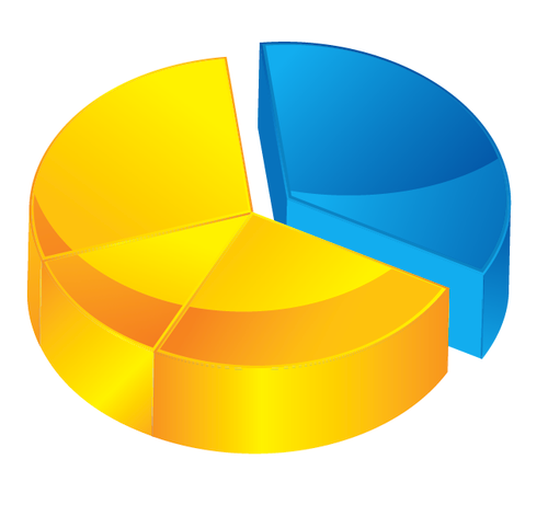 buy vector 3D pie chart icon illustration