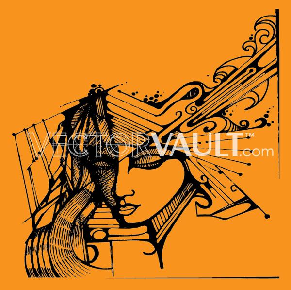Buy vector woman portrait abstract illustration royalty-free vectors