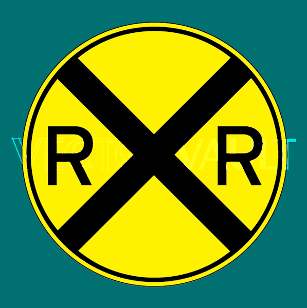 vector rail road crossing sign