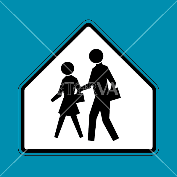 vector school crossing sign