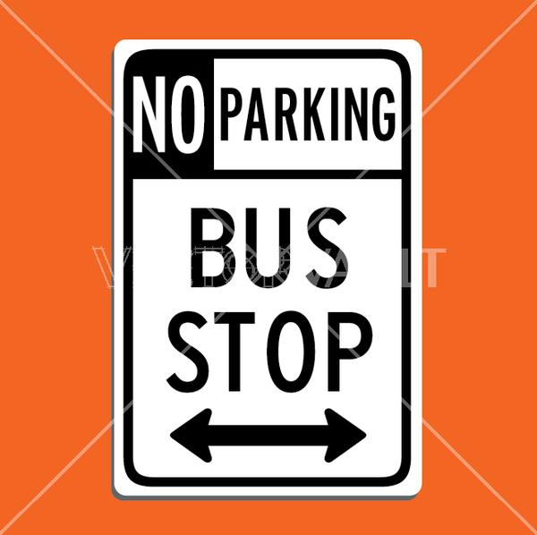 vector no parking bus stop sign