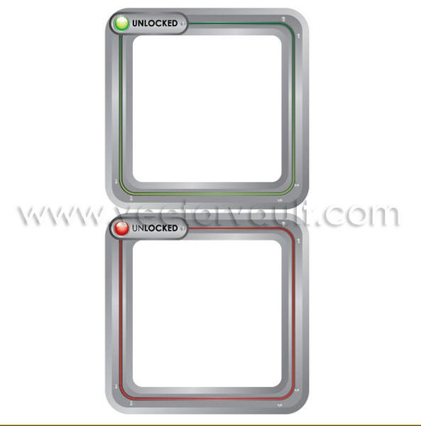 buy vector rounded metal frames unlocked and locked states image