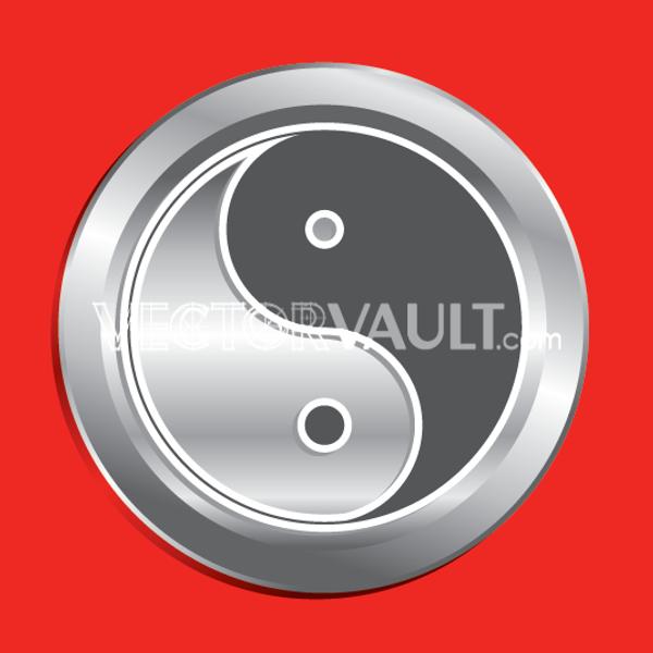 Vector Ying Yang Button