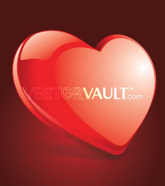 Buy Vector Glossy tilted red heart illustration royalty-free vectors