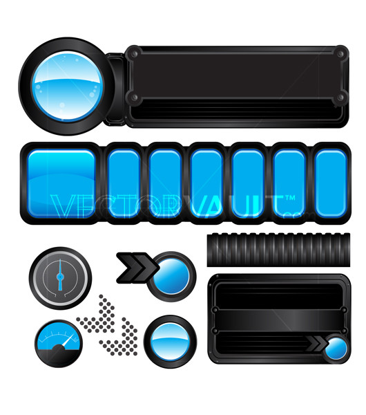 Vector Aqua Bubble Glossy Components