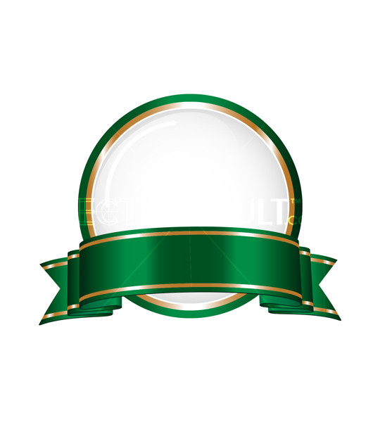 Buy Vector Round Ribbon Emblem with green ribbon and gold trim logo crest