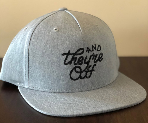 "Grey ""AND THEY'RE OFF"" Hat in Black Rope Stitch (W)"