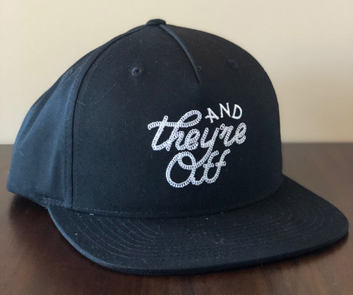 """Black """"AND THEY'RE OFF"""" Hat in White Rope Stitch (W)"""