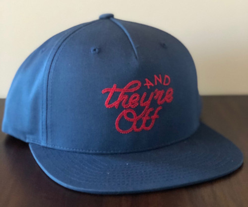 "Navy ""AND THEY'RE OFF"" Hat in Red Rope Stitch (W)"
