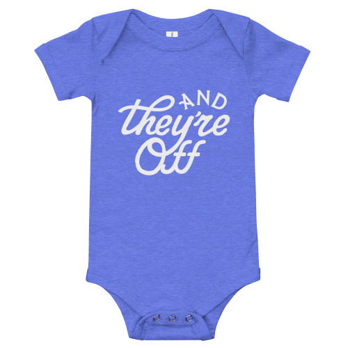 """AND THEY'RE OFF"" Baby One-Piece (Blue)"