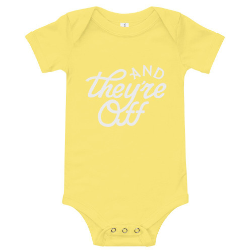 """""""AND THEY'RE OFF"""" Baby One-Piece (Yellow)"""