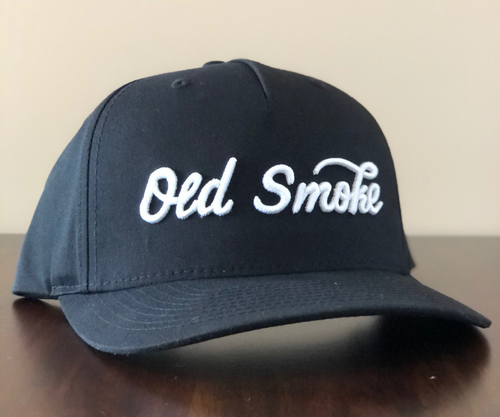 BLACK  OLD SMOKE CURSIVE HAT