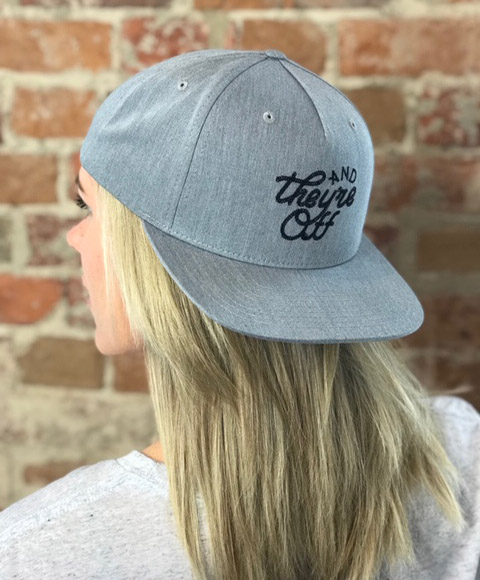 """Grey """"AND THEY'RE OFF"""" Hat in Black Rope Stitch (W)"""