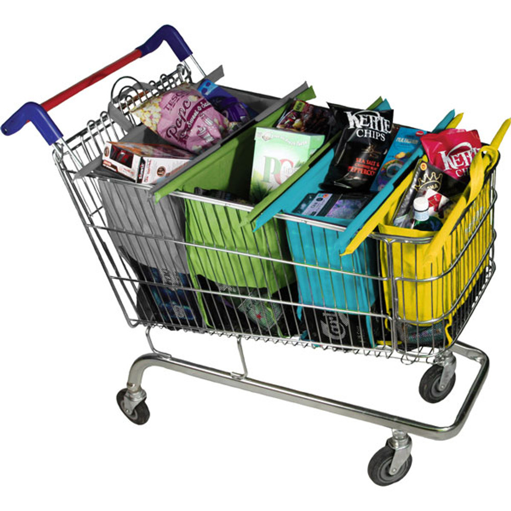 Trolley Bags Original Pastel fully packed with groceries.