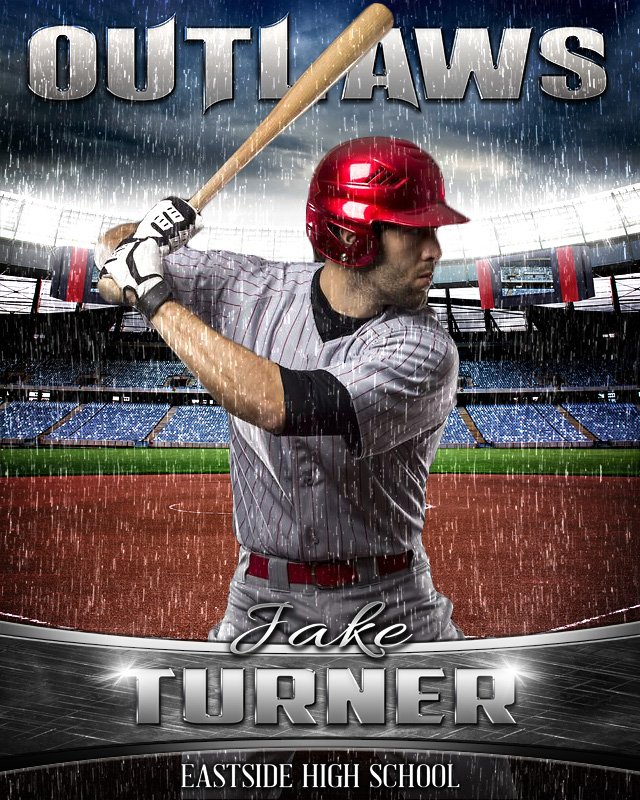 16x20 Baseball Photo Template - Rain Out Series