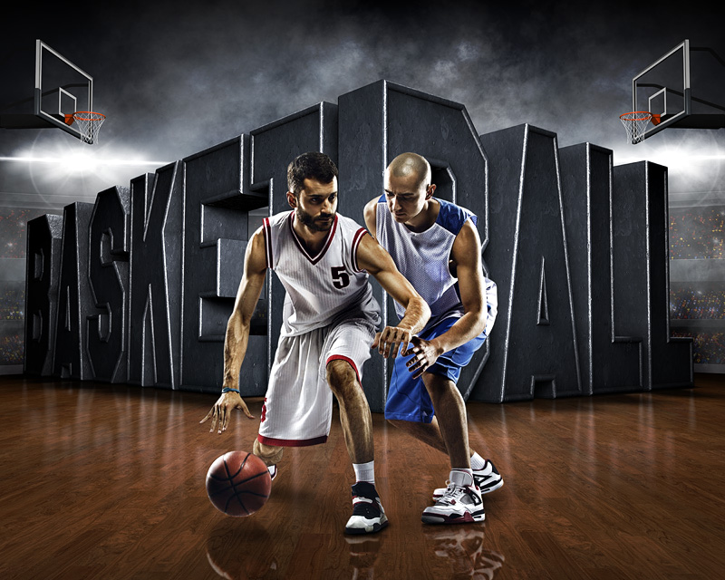 sports poster photo template - surreal basketball