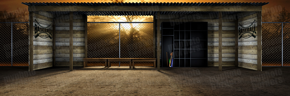 DIGITAL SPORTS BACKGROUND - BASEBALL DUGOUT - PANORAMIC