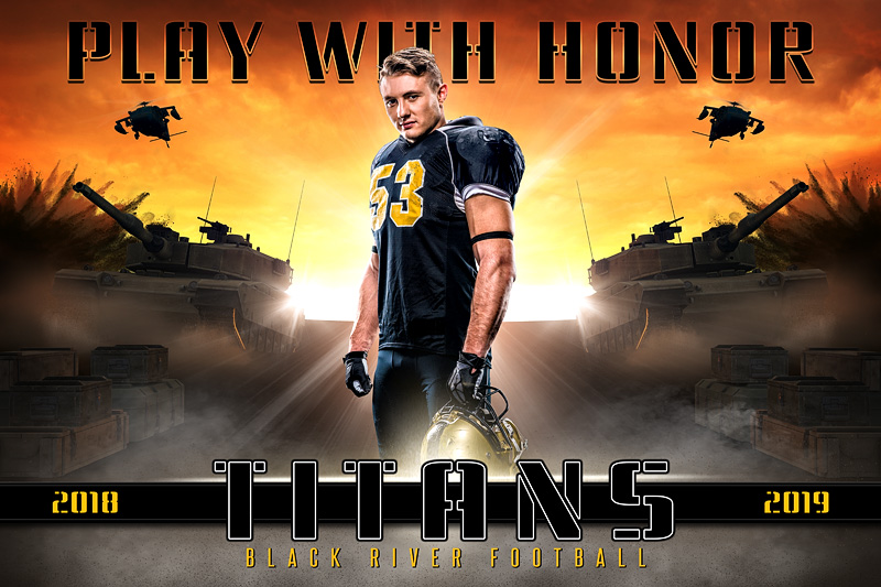 PLAYER & TEAM BANNER PHOTO TEMPLATE - PLAY WITH HONOR - PHOTOSHOP LAYERED SPORTS TEMPLATE