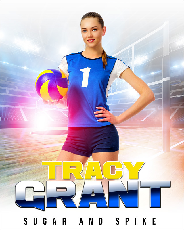 SPORTS POSTER PHOTO TEMPLATE - HI KEY VOLLEYBALL - CUSTOM PHOTOSHOP LAYERED SPORTS TEMPLATE
