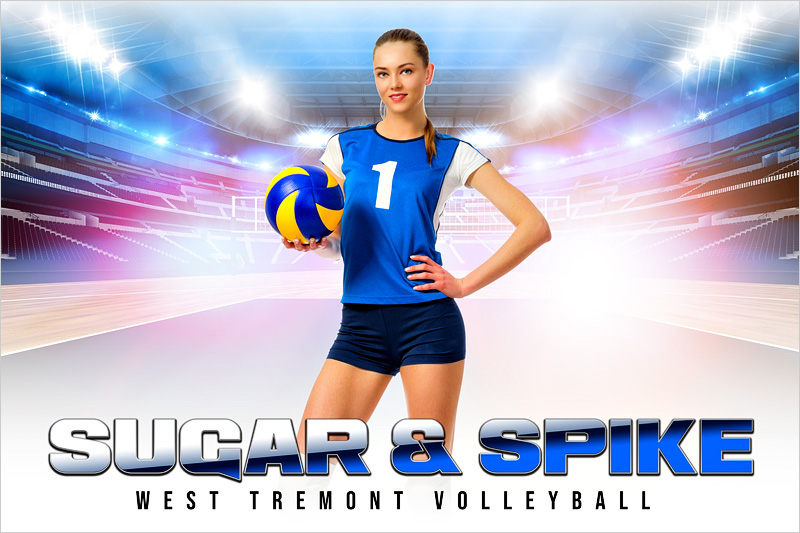 PLAYER & TEAM BANNER PHOTO TEMPLATE - HI KEY VOLLEYBALL - CUSTOM PHOTOSHOP LAYERED SPORTS TEMPLATE