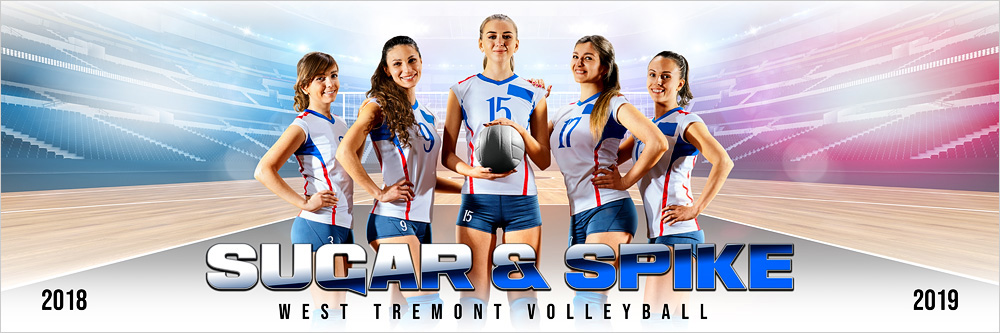 PANORAMIC SPORTS BANNER TEMPLATE - HI KEY VOLLEYBALL - CUSTOM LAYERED PHOTOSHOP SPORTS TEMPLATE
