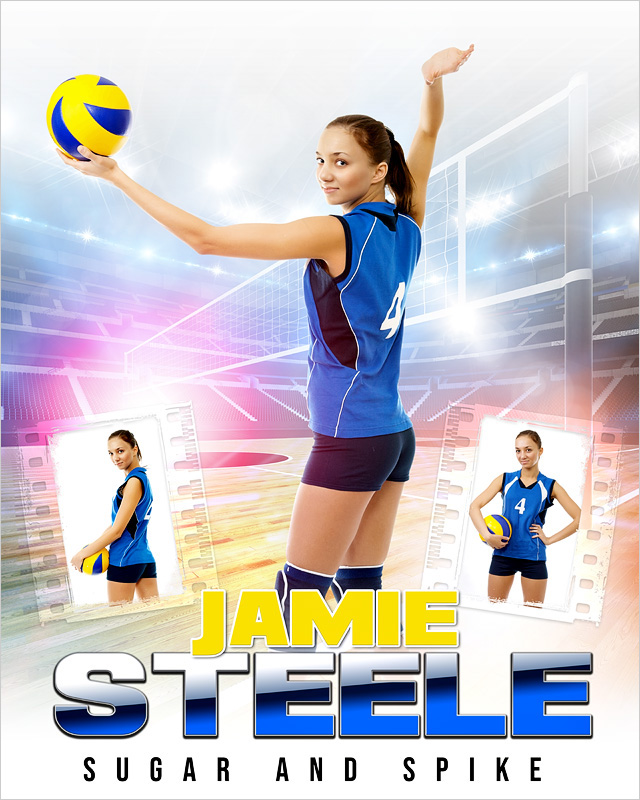 HI KEY VOLLEYBALL 16x20 PHOTO COLLAGE - CUSTOM LAYERED PHOTOSHOP SPORTS TEMPLATE