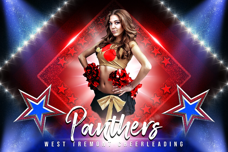 PLAYER  & TEAM BANNER PHOTO TEMPLATE - STARS AND GLITTER - CUSTOM PHOTOSHOP LAYERED SPORTS TEMPLATE